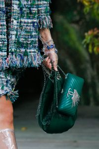 Chanel Green Drawstring Bag and Chevron Clutch Bag - Spring 2018