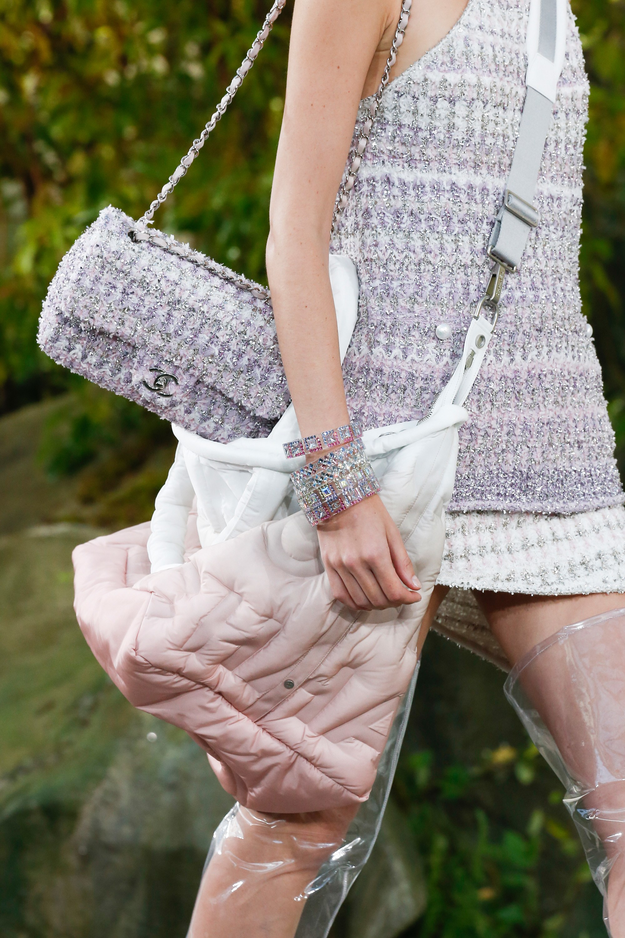 4d65e57ef9b8 Chanel Purple Tweed Classic Flap and Chanel Doudoune Messenger Bag - Spring  2018