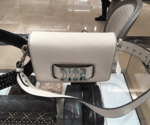 Dior Off-White Canyon Grained Lambskin Dio(r)evolution Flap Bag with Slot Handclasp