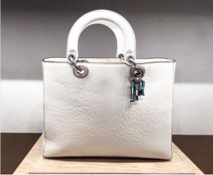 Dior Off-White Canyon Grained Lambskin Large Lady Dior Bag