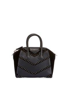 Givenchy Black Studded Chevron Mini Antigona Bag