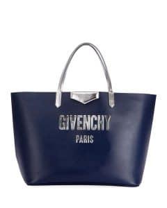 Givenchy Dark Blue Antigona Large Shopping Bubble Tote Bag