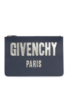Givenchy Dark Blue Iconic Bubble Flat Pouch Wallet