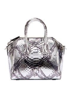 Givenchy Silver Laminated Python Mini Antigona Bag