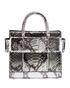 Givenchy Silver Laminated Python Mini Horizon Bag
