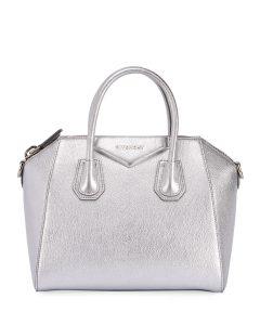 Givenchy Silver Metallic Mini Antigona Bag