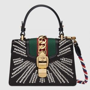 Gucci Black Embellished Satin Sylvie Mini Top Handle Bag
