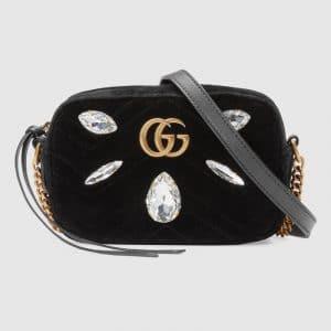 Gucci Black Embellished Velvet GG Marmont Mini Chain Shoulder Bag