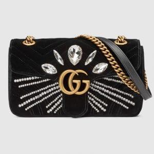 Gucci Black Embellished Velvet GG Marmont Small Shoulder Bag