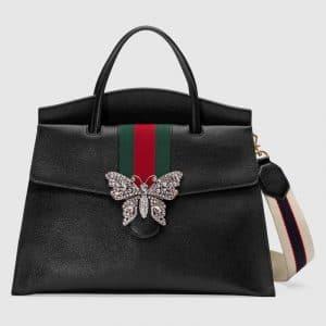 Gucci Black Leather with Butterfly GucciTotem Large Top Handle Bag