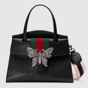 Gucci Black Leather with Butterfly GucciTotem Medium Top Handle Bag