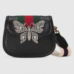Gucci Black Leather with Butterfly GucciTotem Small Shoulder Bag