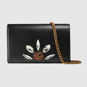 Gucci Black Leather with Double G and Crystals Mini Chain Bag