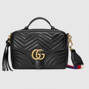 Gucci Black Matelassé GG Marmont Small Shoulder Bag