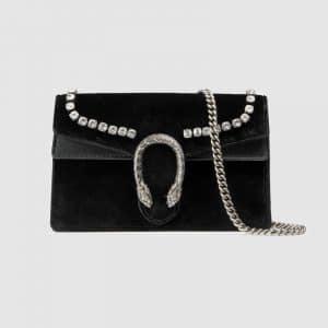 Gucci Black Velvet with Crystals Dionysus Super Mini Bag