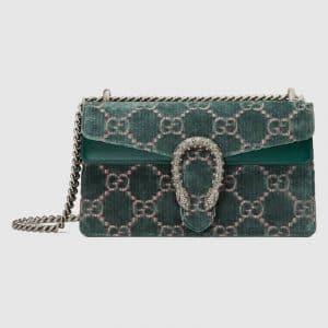 Gucci Blue GG Velvet Dionysus Small Shoulder Bag