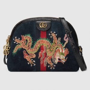 ca6a00782250 Gucci Blue Suede Dragon Embroidered Ophidia Domed Shape Shoulder Bag ...