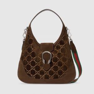 Gucci Brown GG Velvet Dionysus Hobo Bag