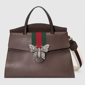 Gucci Brown Leather with Butterfly GucciTotem Large Top Handle Bag
