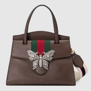 Gucci Brown Leather with Butterfly GucciTotem Medium Top Handle Bag