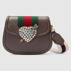 Gucci Brown Leather with Heart GucciTotem Small Shoulder Bag