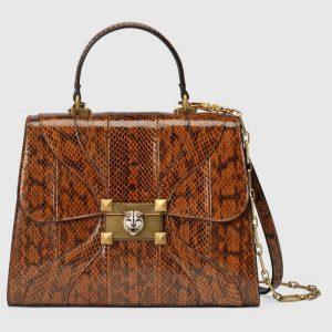 Gucci Brown Snakeskin Osiride Medium Top Handle Bag