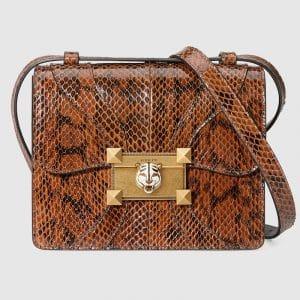 Gucci Brown Snakeskin Osiride Shoulder Bag