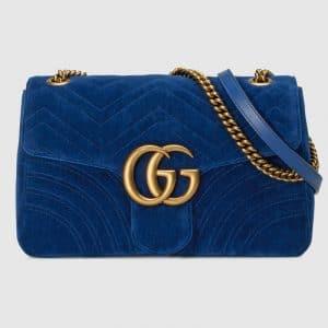 Gucci Cobalt Blue Velvet GG Marmont Medium Shoulder Bag