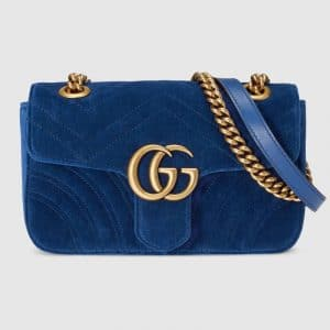 Gucci Cobalt Blue Velvet GG Marmont Mini Shoulder Bag