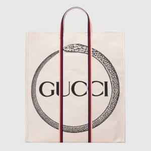 Gucci Cotton Canvas with Ouroboros Print Tote Bag