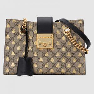 Gucci GG Supreme Bees Padlock GG Shoulder Tote Bag