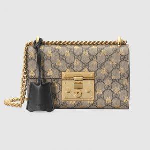 Gucci GG Supreme Bees Padlock GG Small Shoulder Bag