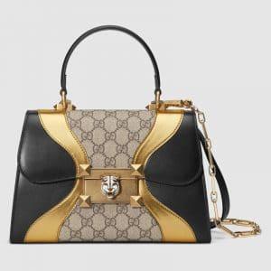Gucci GG Supreme and Leather Osiride Small Top Handle Bag