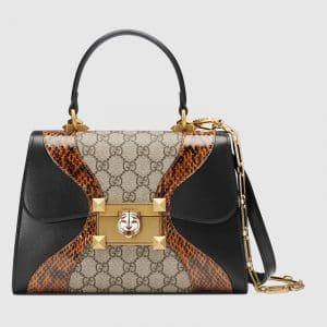 Gucci GG Supreme and Leather with Snakeskin Osiride Small Top Handle Bag