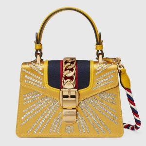Gucci Gold Embellished Satin Sylvie Mini Top Handle Bag