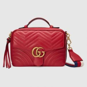 Gucci Hibiscus Red Matelassé GG Marmont Small Shoulder Bag