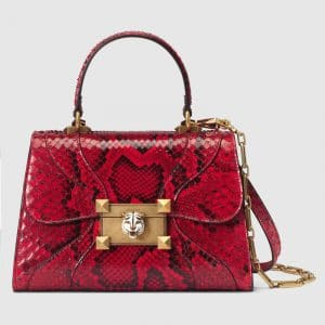 Gucci Hibiscus Red Snakeskin Osiride Small Top Handle Bag