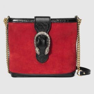Gucci Hibiscus Red Suede Dionysus Bucket Bag