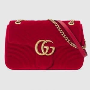 Gucci Hibiscus Red Velvet GG Marmont Medium Shoulder Bag