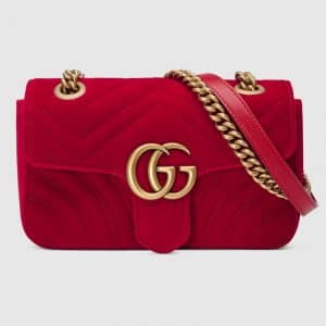 Gucci Hibiscus Red Velvet GG Marmont Mini Shoulder Bag