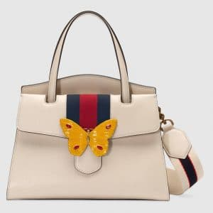 Gucci Ivory Leather with Butterfly GucciTotem Medium Top Handle Bag