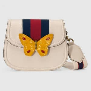 Gucci Ivory Leather with Butterfly GucciTotem Small Shoulder Bag
