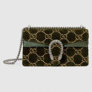 Gucci Olive GG Velvet Dionysus Small Shoulder Bag