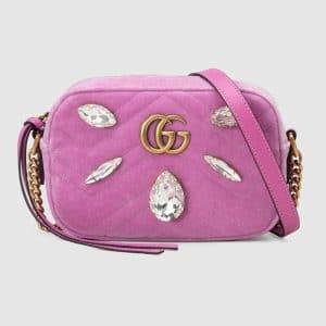 Gucci Pink Embellished Velvet GG Marmont Mini Chain Shoulder Bag