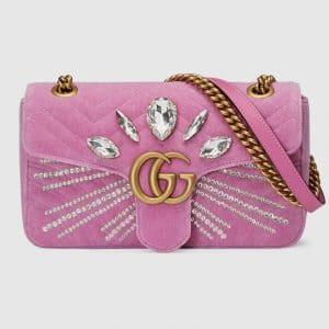 Gucci Pink Embellished Velvet GG Marmont Small Shoulder Bag
