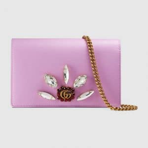 Gucci Pink Leather with Double G and Crystals Mini Chain Bag