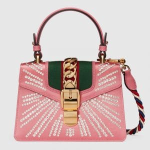 Gucci Pink Peony Embellished Satin Sylvie Mini Top Handle Bag