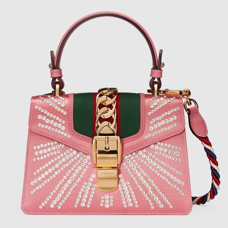 0bb799eba80 Gucci Pink Peony Embellished Satin Sylvie Mini Top Handle Bag