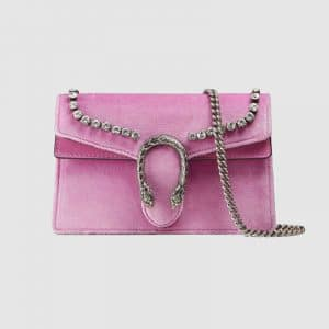 Gucci Pink Velvet with Crystals Dionysus Super Mini Bag
