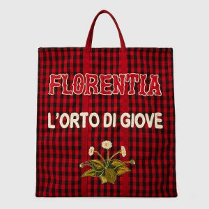 Gucci Red Embroidered Check Fabric Tote Bag